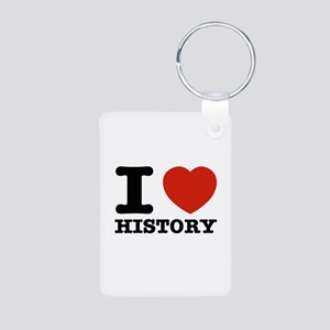 I heart History Aluminum Photo Keychain