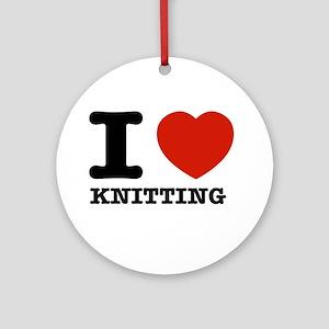 I heart Knitting Ornament (Round)