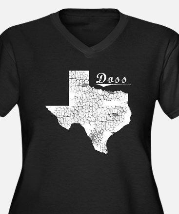 Doss, Texas. Vintage Women's Plus Size V-Neck Dark