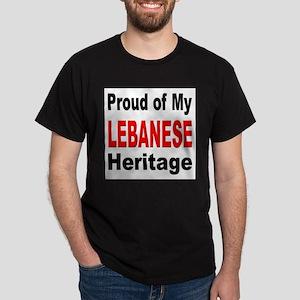 Proud Lebanese Heritage (Front) Black T-Shirt
