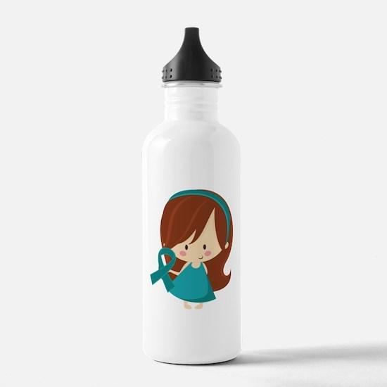 Teal Ribbon Girl Awareness Water Bottle