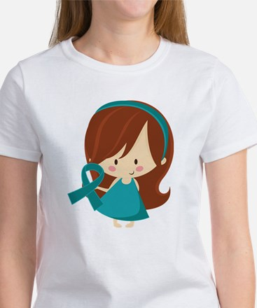Teal Ribbon Girl Awareness Women's T-Shirt