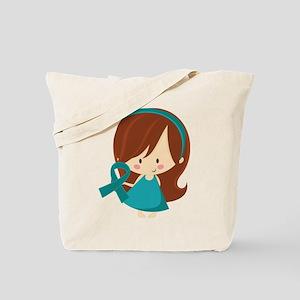 Teal Ribbon Girl Awareness Tote Bag