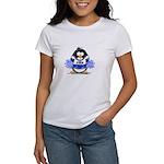 Blue CheerLeader Penguin Women's T-Shirt