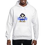 Blue CheerLeader Penguin Hooded Sweatshirt