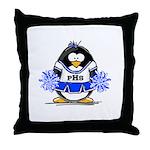 Blue CheerLeader Penguin Throw Pillow