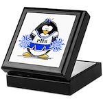 Blue CheerLeader Penguin Keepsake Box