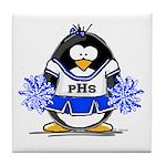 Blue CheerLeader Penguin Tile Coaster
