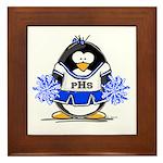 Blue CheerLeader Penguin Framed Tile