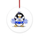 Blue CheerLeader Penguin Ornament (Round)
