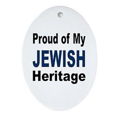Proud Jewish Heritage Oval Ornament