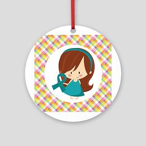 Teal Ribbon Girl Awareness Ornament (Round)