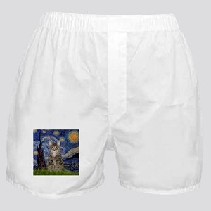 Starry Night & Tiger Cat Boxer Shorts