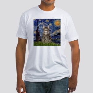 Starry Night & Tiger Cat Fitted T-Shirt