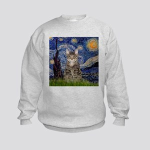 Starry Night & Tiger Cat Kids Sweatshirt