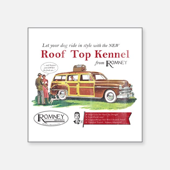 "Vintage Romney Dog Square Sticker 3"" x 3"""