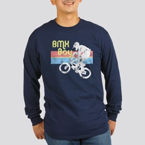 1980s BMX Boy Distressed Long Sleeve Dark T-Shirt