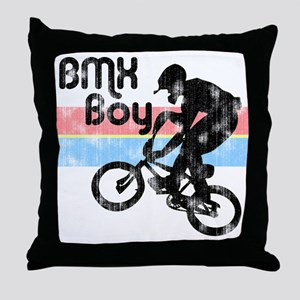 1980s BMX Boy Distressed Throw Pillow