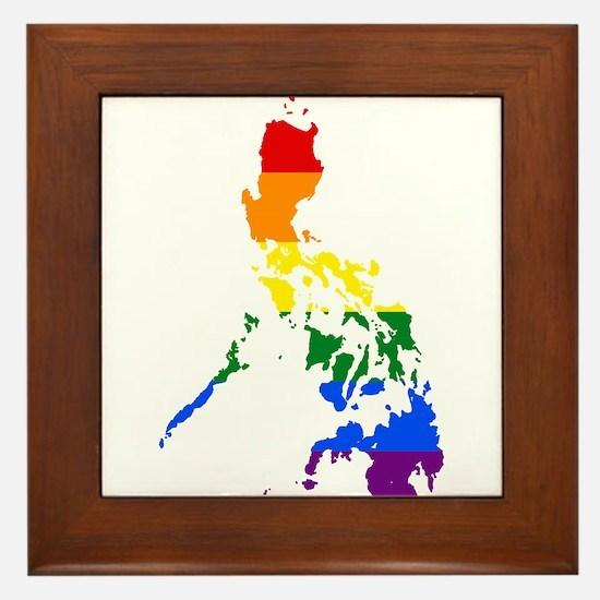 Rainbow Pride Flag Philippines Map Framed Tile