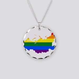 Rainbow Pride Flag Russia Map Necklace Circle Char