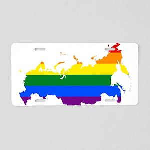 Rainbow Pride Flag Russia Map Aluminum License Pla