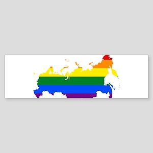 Rainbow Pride Flag Russia Map Sticker (Bumper)