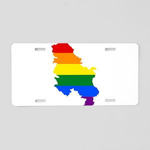 Rainbow Pride Flag Serbia Map Aluminum License Pla