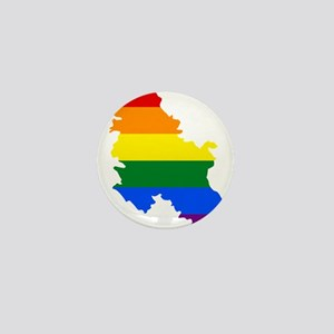 Rainbow Pride Flag Serbia Map Mini Button
