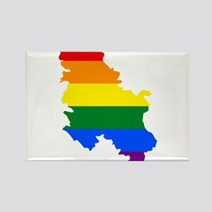 Rainbow Pride Flag Serbia Map Rectangle Magnet