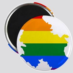 Rainbow Pride Flag Serbia Map Magnet