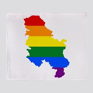 Rainbow Pride Flag Serbia Map Throw Blanket