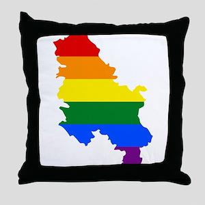 Rainbow Pride Flag Serbia Map Throw Pillow