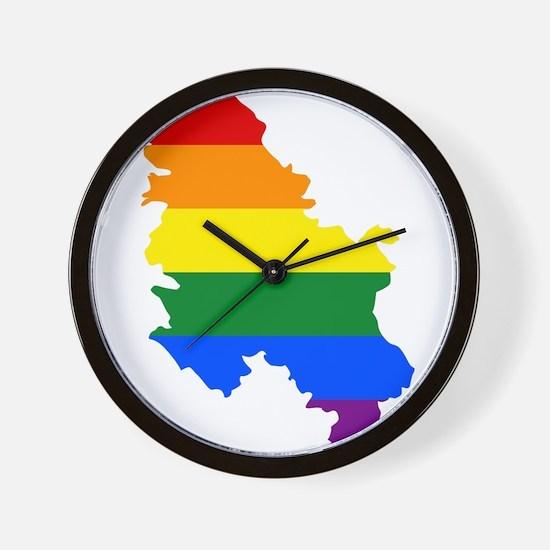 Rainbow Pride Flag Serbia Map Wall Clock