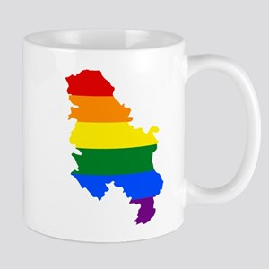 Rainbow Pride Flag Serbia Map Mug