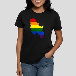Rainbow Pride Flag Serbia Map Women's Dark T-Shirt
