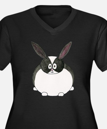 Dutch Rabbit. Women's Plus Size V-Neck Dark T-Shir