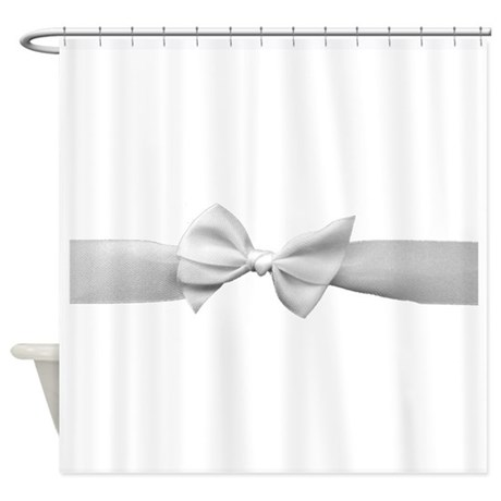 White Ribbon bow Shower Curtain by InspirationzStore