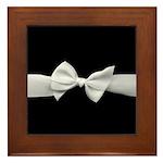 White Ribbon bow Framed Tile
