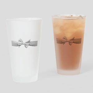 White Ribbon bow Drinking Glass