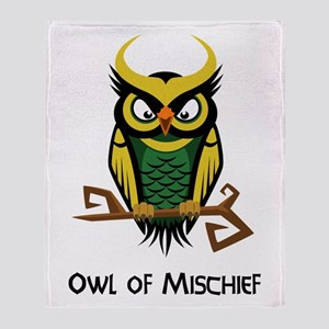 Owl of Mischief Throw Blanket