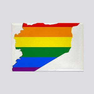 Rainbow Pride Flag Syria Map Rectangle Magnet