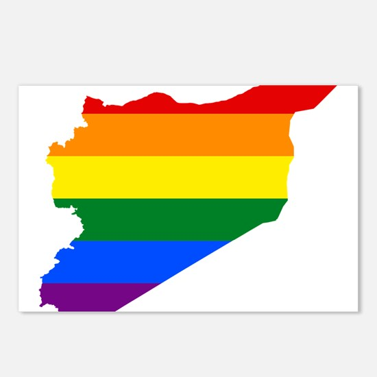Rainbow Pride Flag Syria Map Postcards (Package of