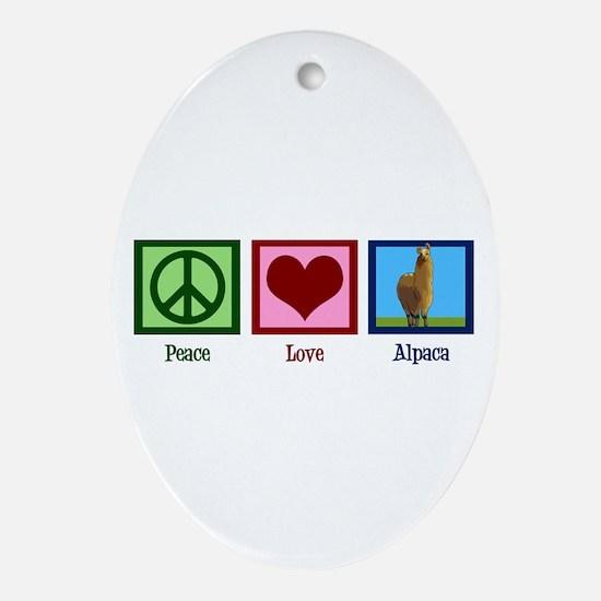 Peace Love Alpacas Ornament (Oval)
