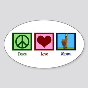 Peace Love Alpacas Sticker (Oval)