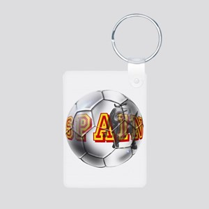 Spanish Soccer Ball Aluminum Photo Keychain