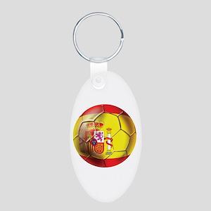 Spanish Futbol Aluminum Oval Keychain
