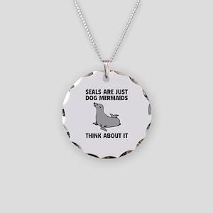 Dog Mermaids Necklace Circle Charm