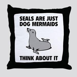 Dog Mermaids Throw Pillow