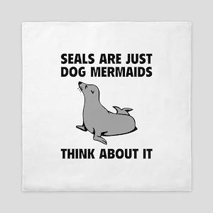 Dog Mermaids Queen Duvet