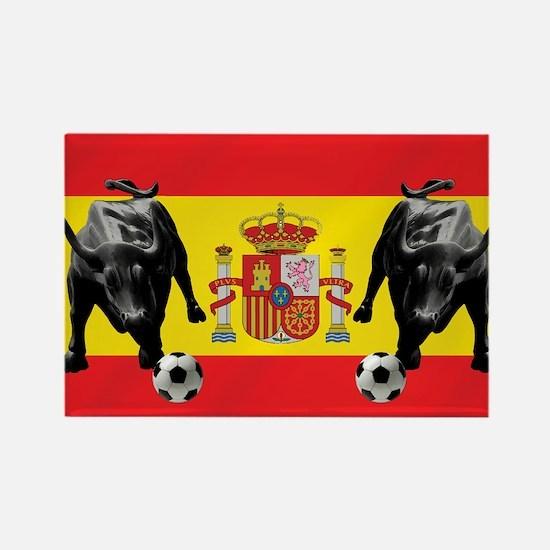 Spanish Football Bull Flag Rectangle Magnet